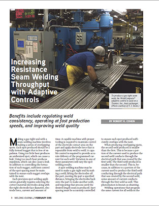 Increasing Resistance Seam Welding Throughput with Adaptive Controls