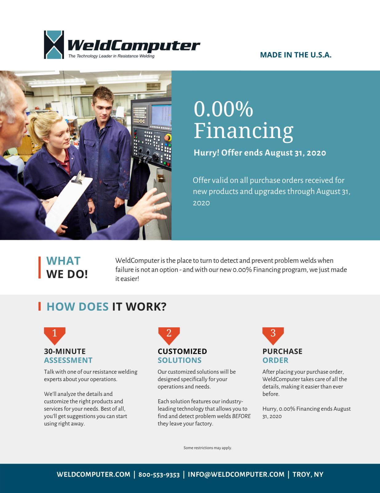 Zero percent financing flyer