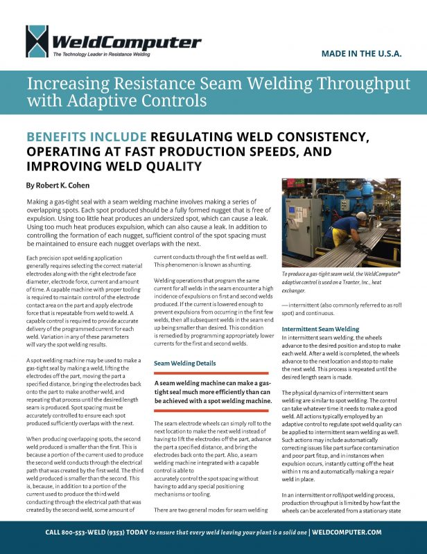 Increasing Seam Welding Throughput